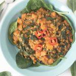 Linzen met spinazie